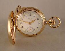 131 YEARS OLD ELGIN 14k GOLD FILLED HUNTER CASE FANCY DIAL 18sGREAT POCKET WATCH