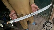 "35"" CUSTOM MADE DAMASCUS STEEL DOUBLE SHADE WIRE WRAP ARABIC VIKING SWORD"