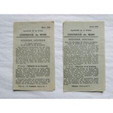 LOT de 2 FEUILLETS : Apostolat de la Prière, 1942