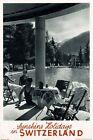 "Vintage Travel Poster CANVAS PRINT Switzerland sunshine holidays 24""X18"""