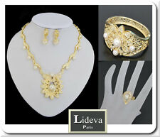 Luxus Schmuck Set 4 Tlg  Kette Ohrringe Armband Ring Gold Pl Braut Perlen Paris