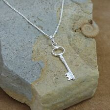 "New 925 Sterling Silver Key Pendant & 18"" Curb Chain Necklace"