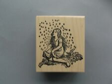 100 PROOF PRESS RUBBER STAMPS GIRL CATCHING FAIRY DUST NEW wood STAMP