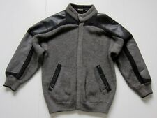 Vintage Bizzarro Italy Black Grey Leather Knitted Zip Up Cardigan Sweater Size L