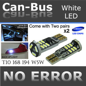 2 pairs T10 Samsung 15 LED Chips Canbus White Install Plug & Play Map Light A784