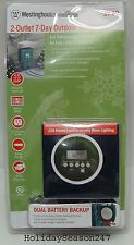 Westinghouse Christmas Holiday Garden Outdoor 2 Outlet 7-Day LCD Digital Timer