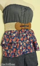 ALMOST FAMOUS Sexy Tube Strapless Pleated Floral Knitted Belt Blouse Top L QCO