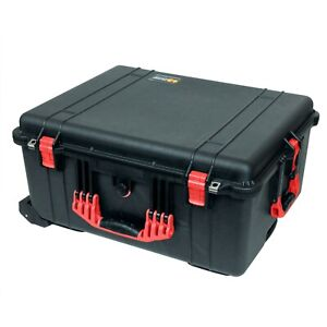 Black & Red Pelican 1610 case. No Foam - Empty. With wheels.