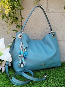 COACH Polished Pebbled Leather Clarkson Hobo crossbody purse 24947
