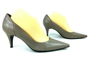Michelle D Womens Heels Size 10 Gray Taupe Leather Pointed Toes