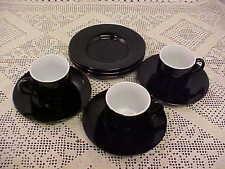 Espresso Demitasse 3 Cups 3 Saucers 3 Desert Plates Black Small 9 Total Pieces