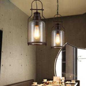 Industrial Loft Rust Iron Glass Lantern 1 Lamp Chain Ceiling Pendant Lights DIY