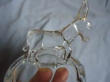 Glass Jar/Dish Lid with Donkey / Mule  Pattern Glass Lid Top Animal