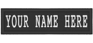 ONE EMBROIDERED PERSONALIZED NAME TAPE OVER BLACK BACKGROUND WITH CUSTOM OPTIONS