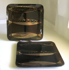 Pair 2 Fred Press Smoke Glass w/ Gold Fish Square Plates MCM