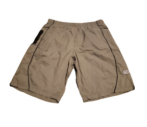 Vintage Nike Grey Tag Logo Swim Trunks Beach / Summer Tan / Black Men's Large L