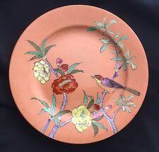 Antique Asian Chinese Japanese Bird &Flowers Gold Orange Background Dinner Plate