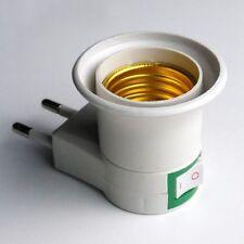 2pcs EU Plug To E27 Base LED Light Lamp Holder Bulb Adapter Screw Socket ON/OFF