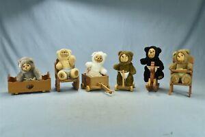199O ROBERT RAIKES ORIGINAL SET 6 NURSERY BEARS w TOYS PLUSH WOOD FACE #00971