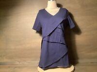 Anthony Richards Women Knit Tiered Top NAVY BLUE Size MEDIUM (10-12) NWOT SHT SL