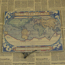 VINTAGE WORLD MAP POSTER typvs orbis terrarvm Kraft paper FREE SHIPPING
