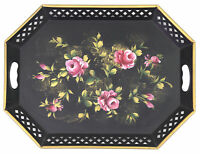 Vintage Nashco Hand Painted Shabby Chic Toleware 20 Inch Tray, Roses & Gold Trim