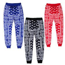 Men Jogger Cashew nut Bandana Paisley Print Drawstring Pants Rap Harlem Trousers