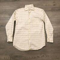 Schiatti Mens Size 41 White Striped Button Up Cotton Shirt Made In Japan