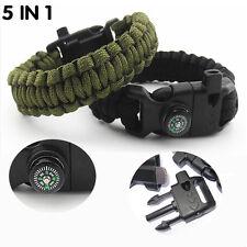 9'' Survival Paracord Bracelet with Compass Flint Fire Starter Scraper Whistle!