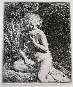 Old Art Print Nude Lady - CHLOE Etching by J.B. Souter Redfern Gallery Plate 42
