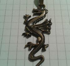 TIBETAN ALLOY ANTIQUE GOLD PLT DRAGON LONG TAIL CHARMS ON BAILS +  KEYRING