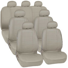 Van SUV Seat Covers 3 Row PU Leather Side ArmRest & Airbag Compatible Beige