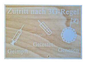 3G Schild 3G-Regel auf einem Holzschild 28,5cm x 20 cm