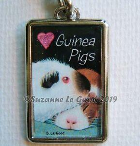 GUINEA PIG ART GLITTERY HEART KEYRING HANDBAG CAT CARRIER CHARM SUZANNE LE GOOD