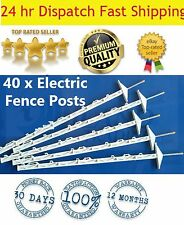 40 x Insulated Multi Wire Electric poly Posts Use With Electric Fence Solar
