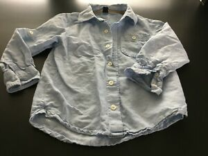 Gap Kids Toddler Boys Size 5 Light Blue Long Sleeve 55% Linen Dress Shirt