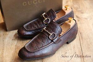Gucci Brown Leather GG Monogram Horse Bit Shoes Loafers Men's UK 9 E EU 43 US 10