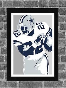 Dallas Cowboys Emmitt Smith Portrait Sports Print Art 11x17