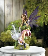 Fairy With Solar Powered Wings Flower Garden Yard Patio Statue Figurine Display