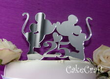 Acrylic Mirror Mickey Minnie Mouse Birthday anniversary cake topper decoration