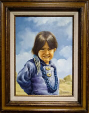 PAINTING OF NATIVE AMERICAN CHILD - signed, J. GREENWOOD - FRAMED OIL PAINTING