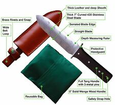 Premium Steel - Hori Hori Garden Knife With Free Leather Sheath & Gardening Bag
