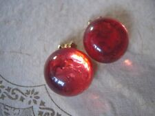 SALE Vintage CLIP BUTTON Earrings GLASS Jelly Orange Translucent 60's