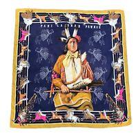 Hermes Vintage Silk Scarf Pani La Star Pawnee 90cm Carre Navy Authentic