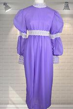 Original Vintage Victorian/Edwardian Style Purple Nylon Bridesmaid Dress - Small