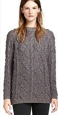 Tory Burch Shawn Metallic Gray Tunic Cable Knit Sweater Sz S Sold Out!  $595