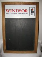 Vintage Windsor Canadian Whiskey Chalk Board framed in wood with tacked backing