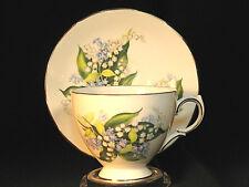 Queen Anne Teacup and Saucer Fine Bone China Blue Flowers Gilt Trim