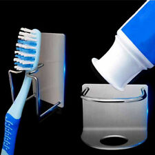 1pc Bathroom Wall Mounted Stainless Steel Toothbrush Hook Toothpaste Holder 3C