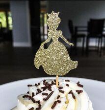princess cinderella cake topper gold glitter girls birthday party x1